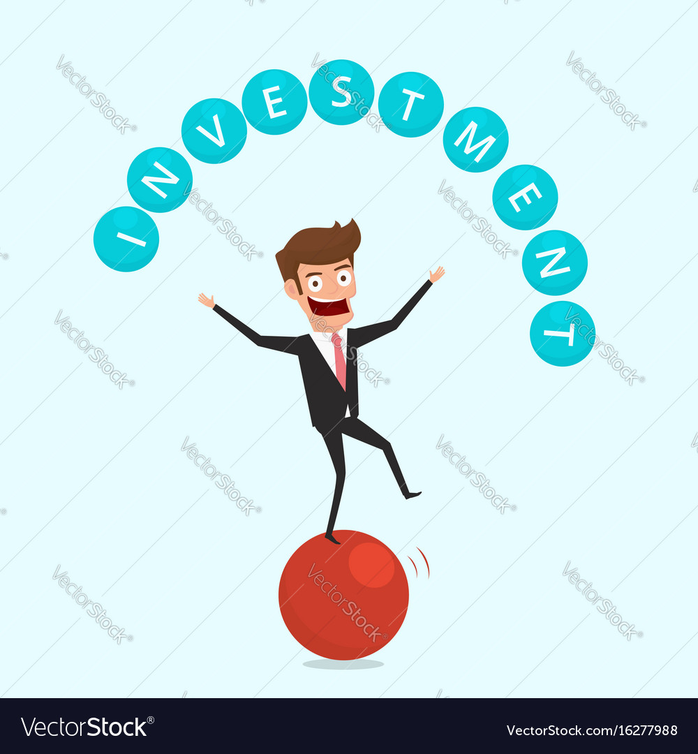 Businessman balancing on sphere and juggling