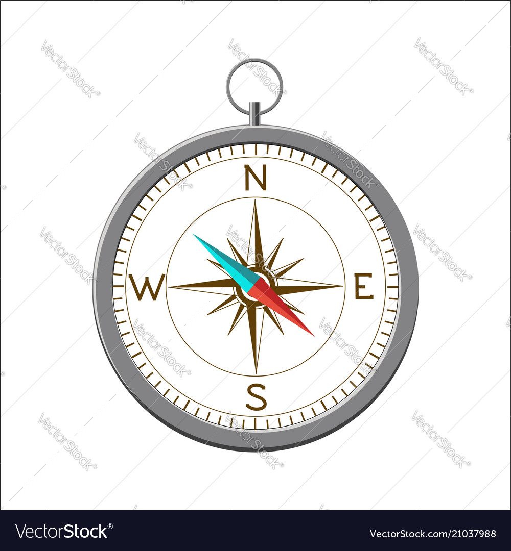 Compass with wind rose isolated on white