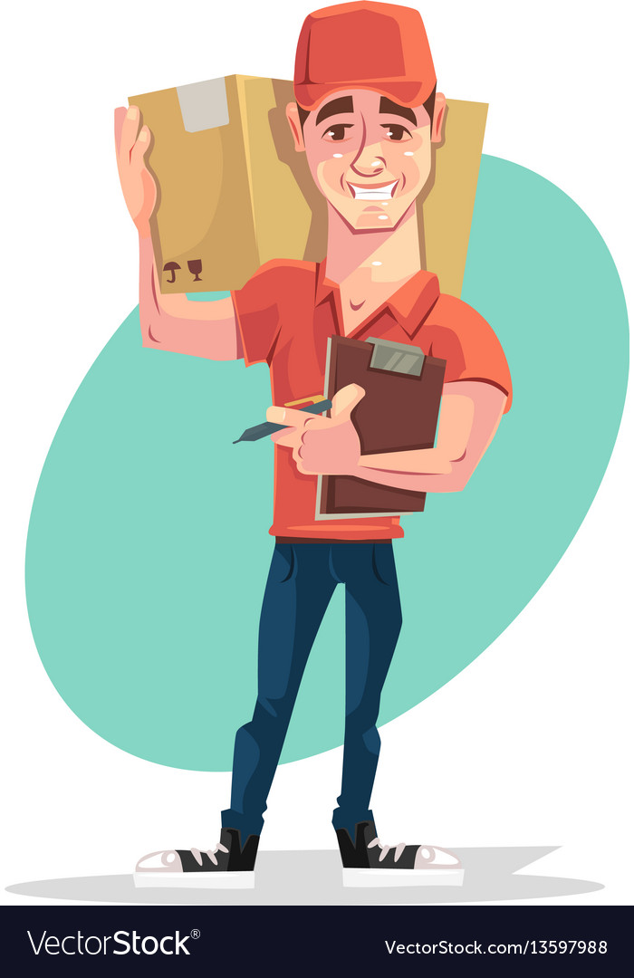 delivery man courier character hold box royalty free vector