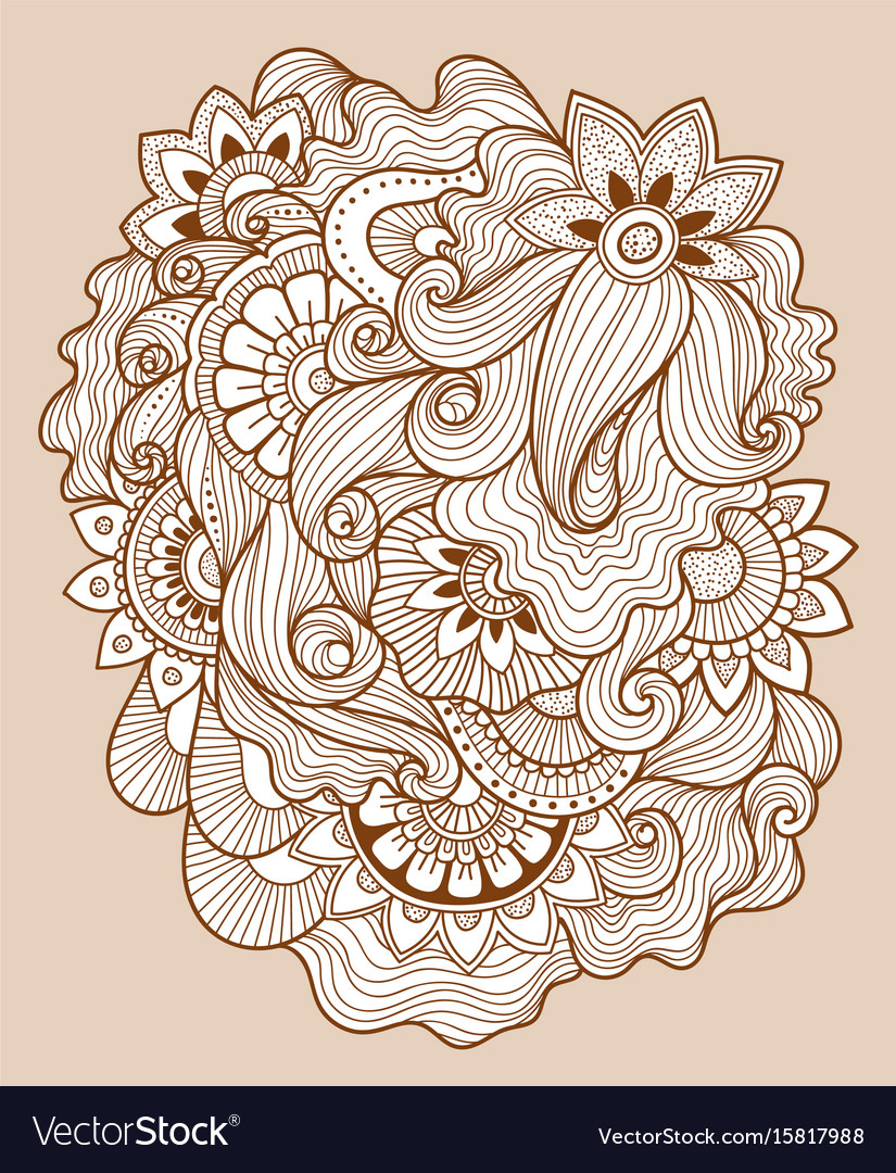 Doodle floral drawinghenna tattoo flower template
