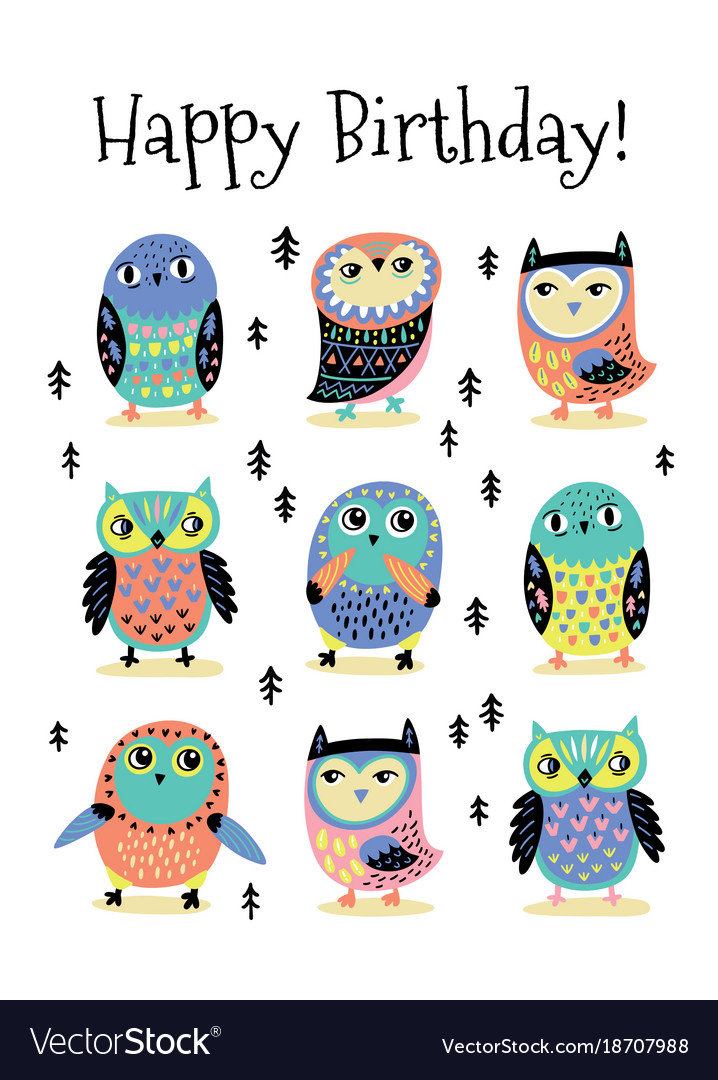 Happy birthday card with cartoon colorful owls