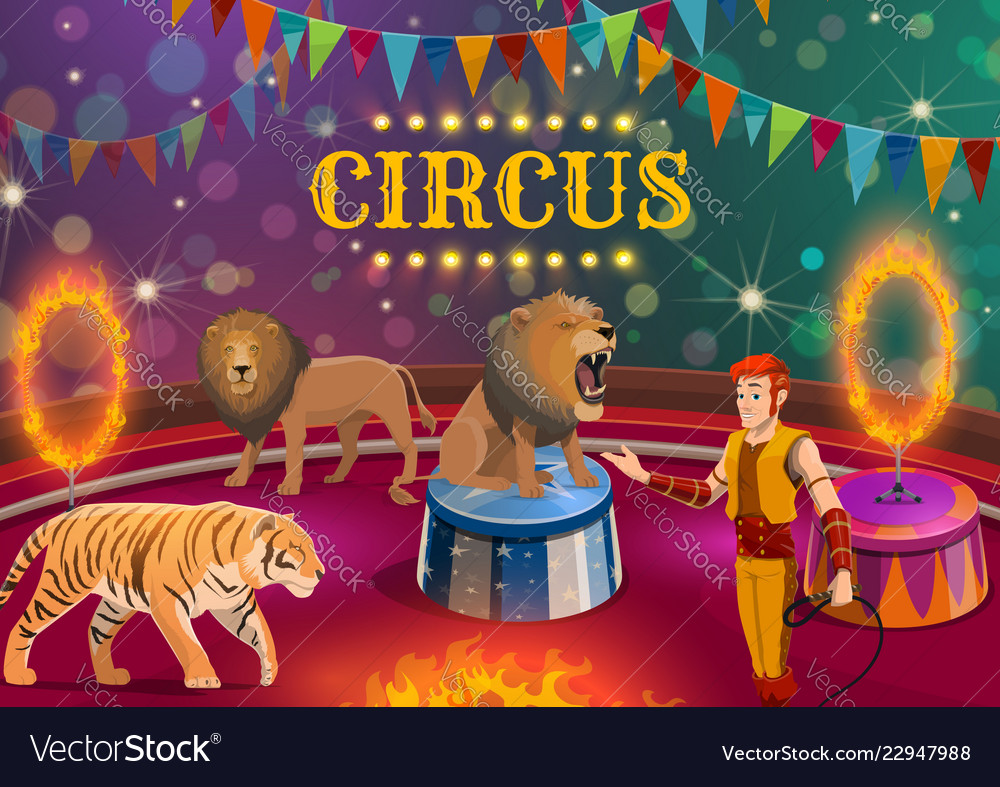 Lion and tiger tamer performing on circus arena