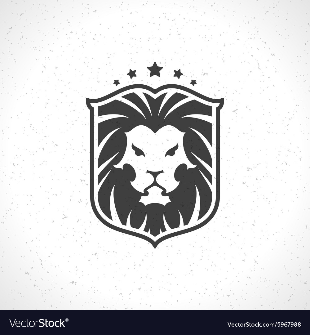 Lion face logo emblem template for business or t Vector Image