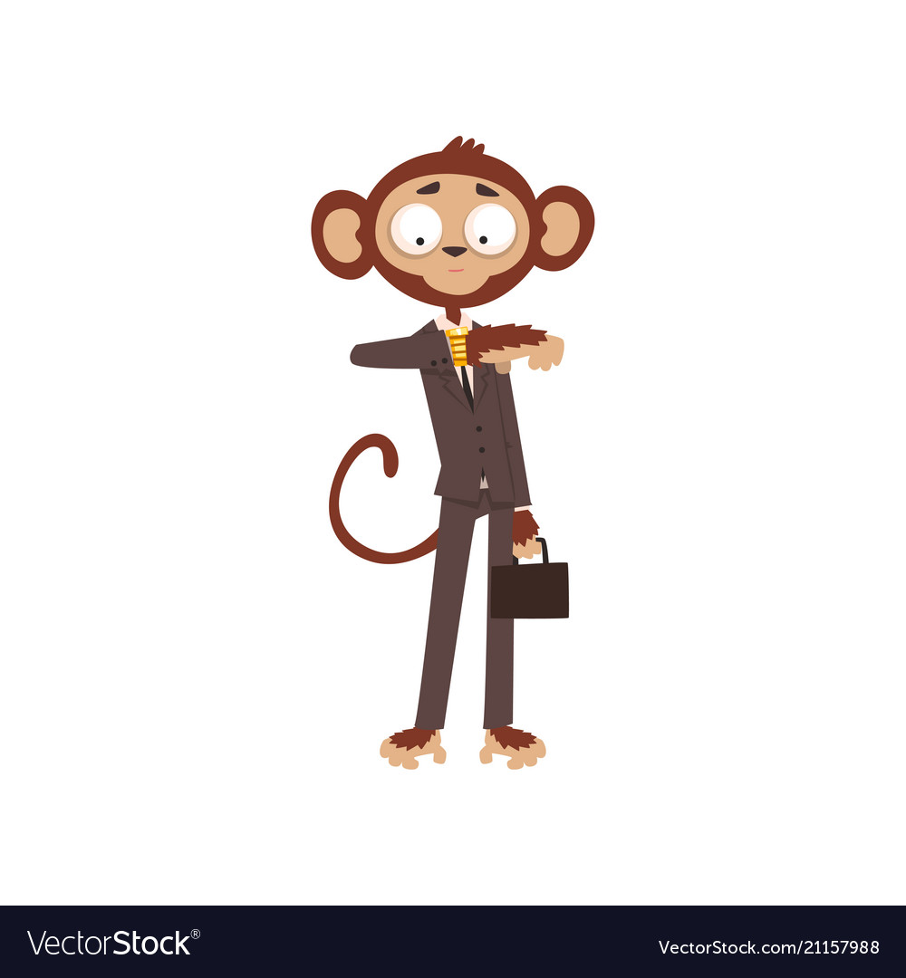 Monkey businessman looking at his wrist watch