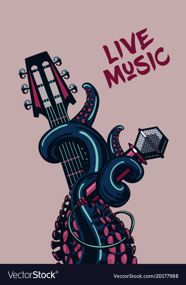 Octopus musician live music rock poster with a vector image