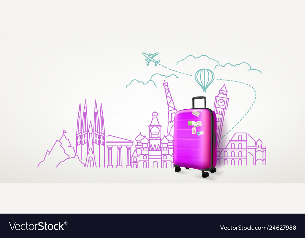 Photoreal violet suitcase with different travel