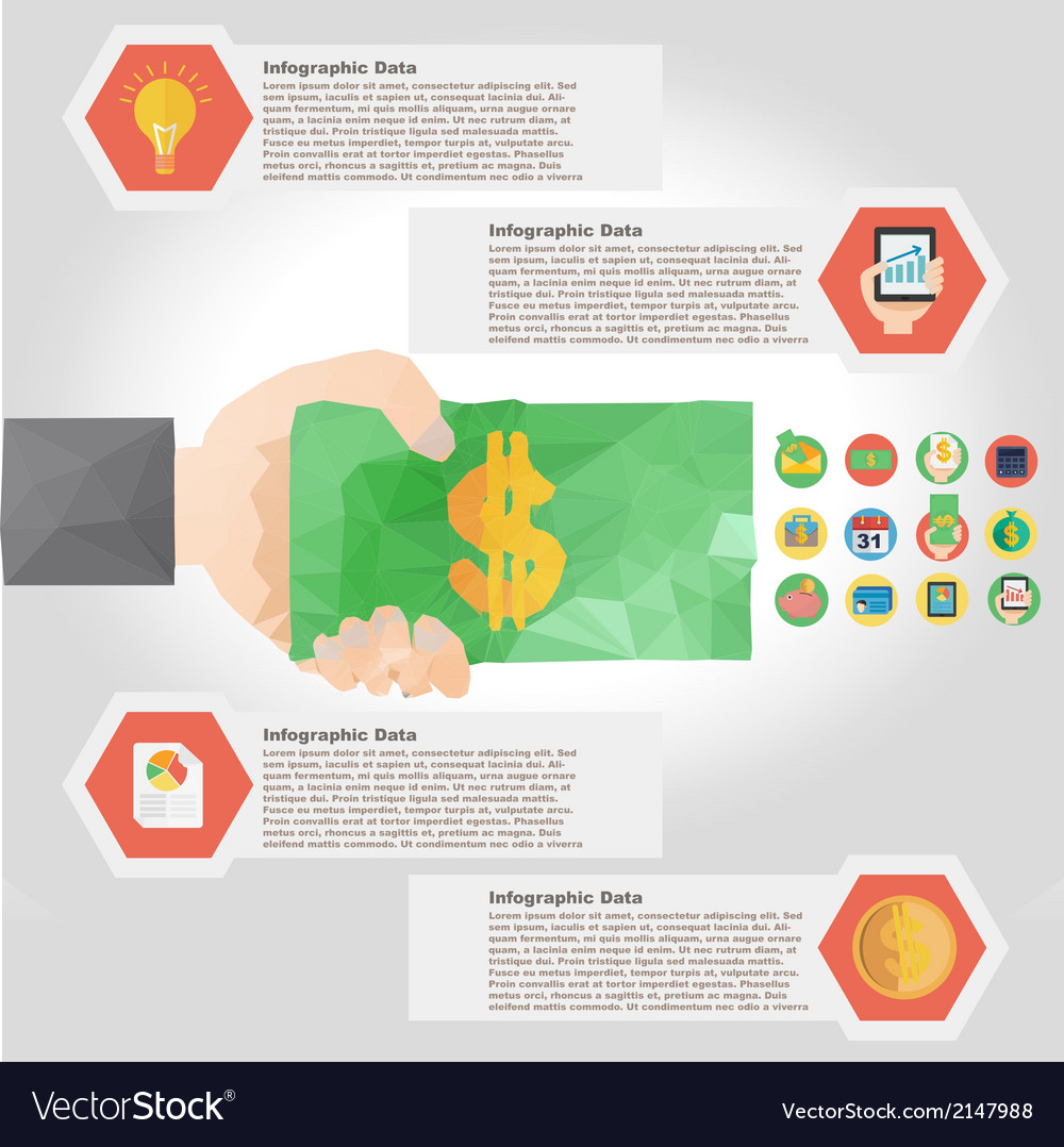 Polygon infographic element with flat color for
