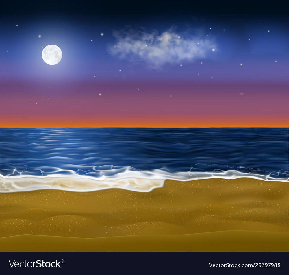 Realistic paradise coast early at morning