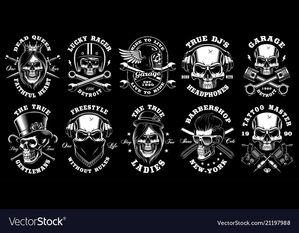 Set of black and white skulls