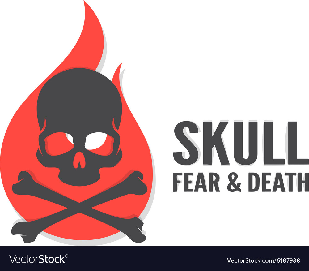 Skull with flame logo or icon