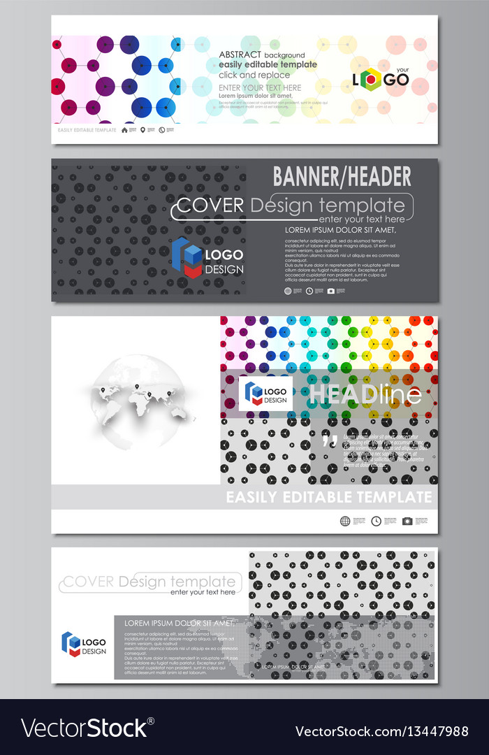 Social media and email headers set modern banners