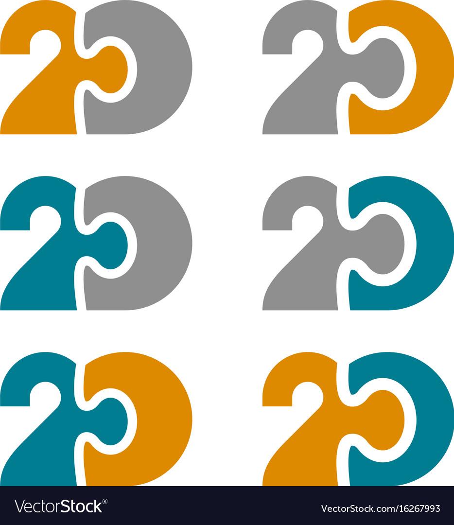20 twenty puzzle linked number vector image