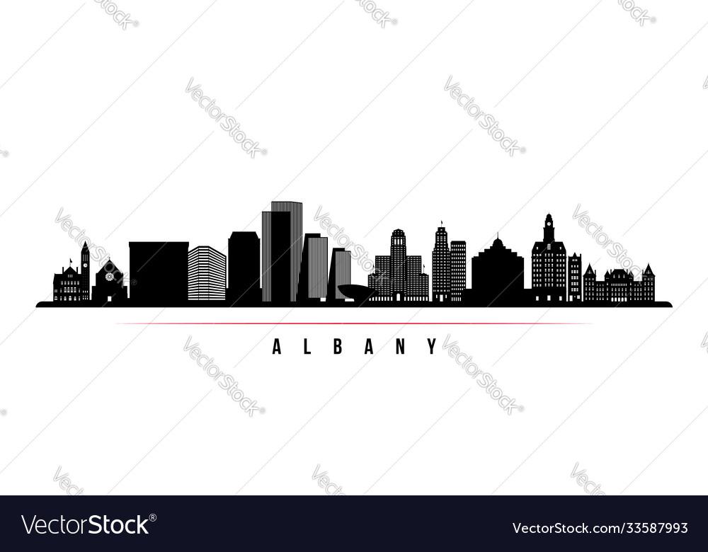 Albany skyline horizontal banner black and white