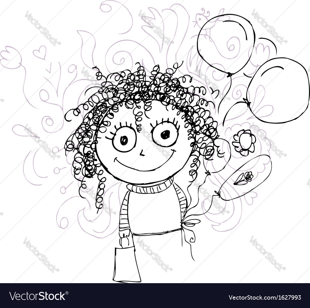 Curly girl sketch with balloons for your design vector image
