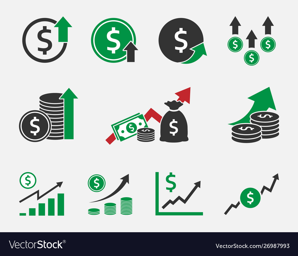 Dollar rate increase currency growth icon set