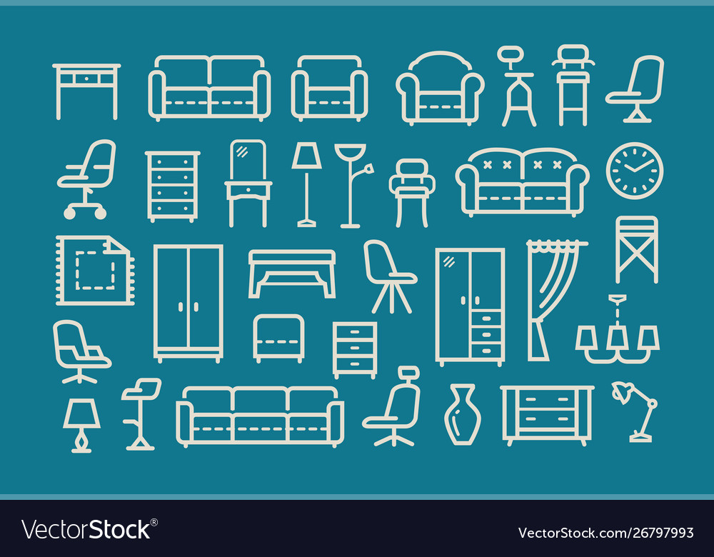 Furniture line icons set collection