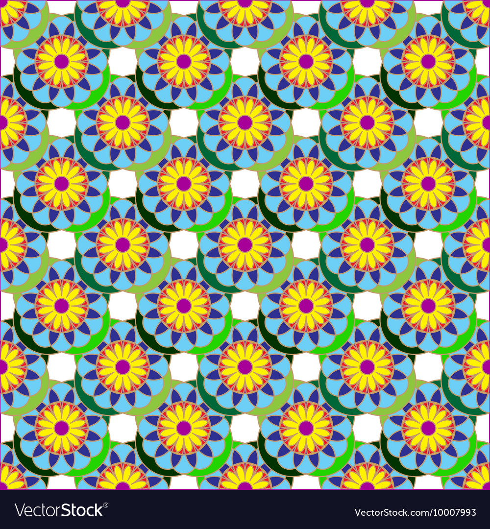 Geometric seamless pattern with fractal flower in