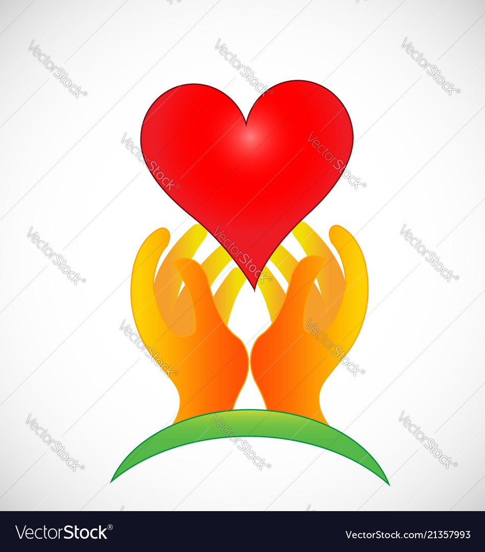 Hopeful hands giving love icon