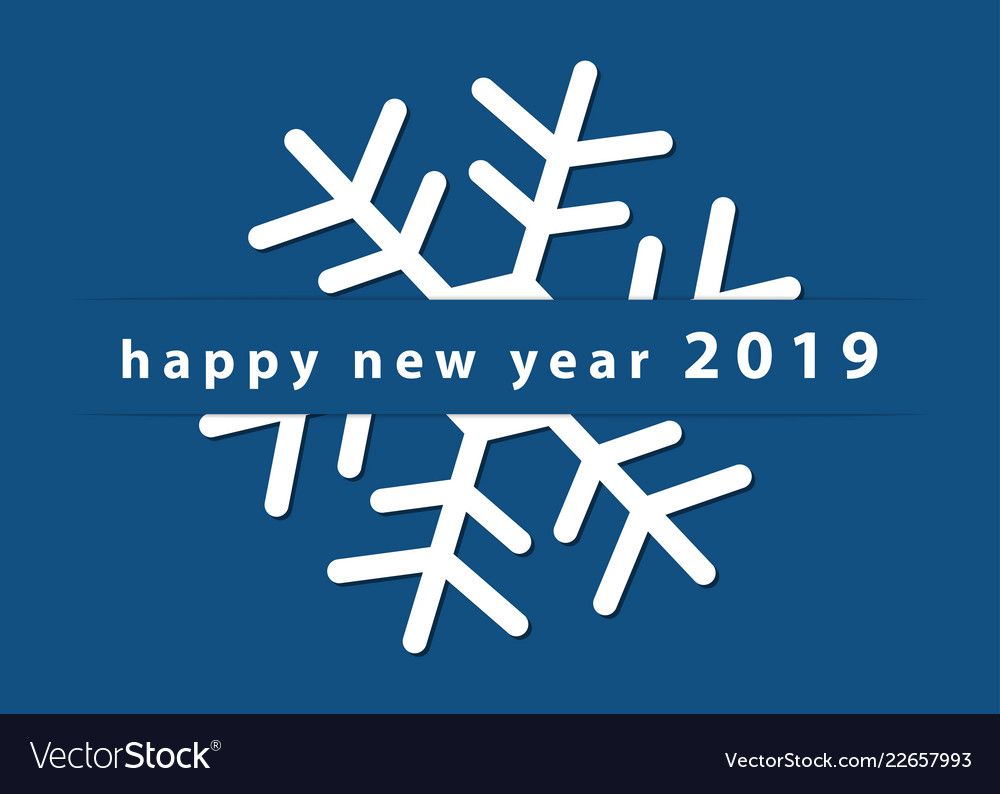 new year wishes snowflake and text 5x7 inches vector image