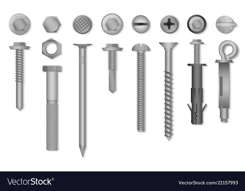 Realistic 3d screws nuts bolts rivets