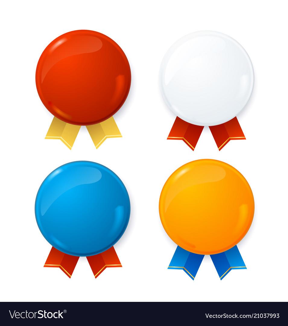Realistic detailed 3d badges sale set