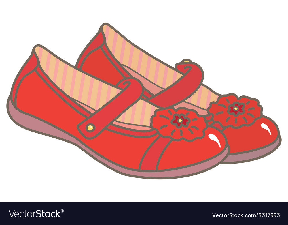 Red girls shoes vector image