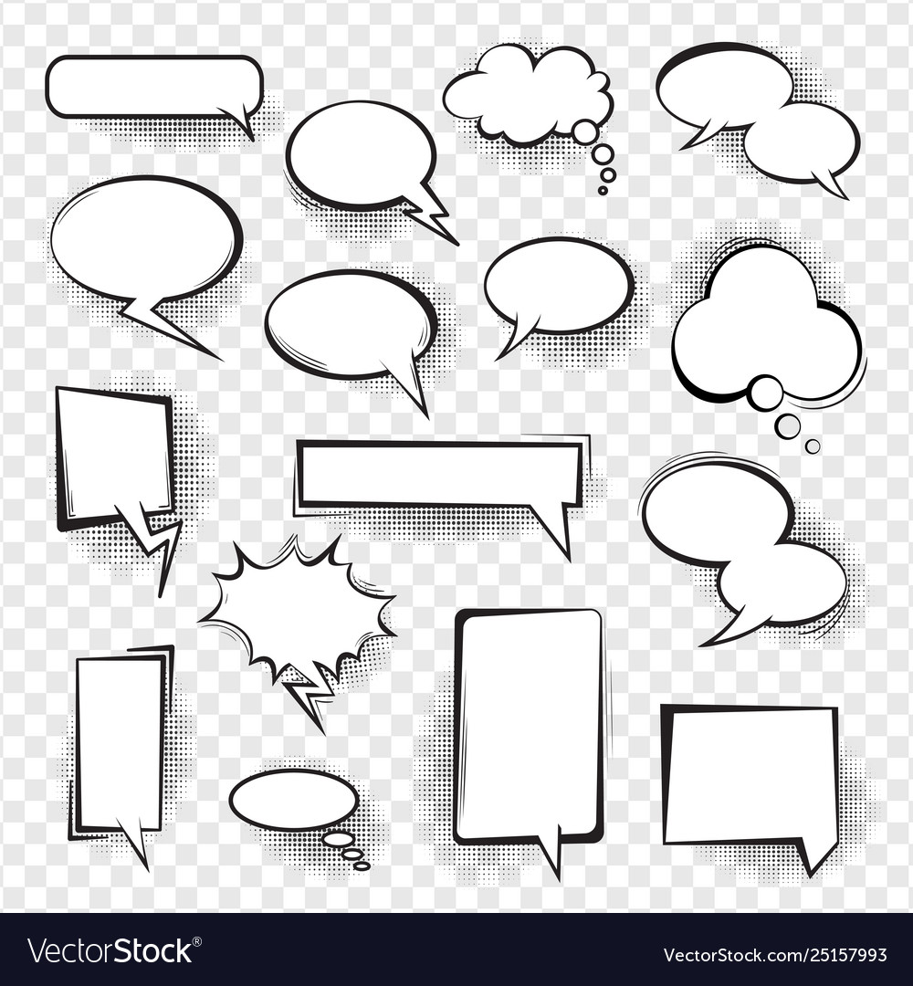 Retro comic empty speech bubbles set for message