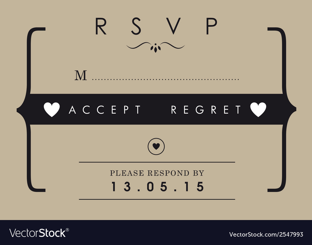 RSVP Wedding card mr and mrs theme vector image