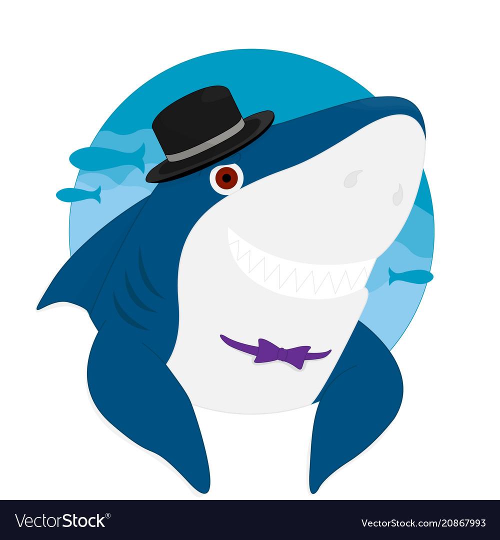 Shark cartoon hat smile eps10