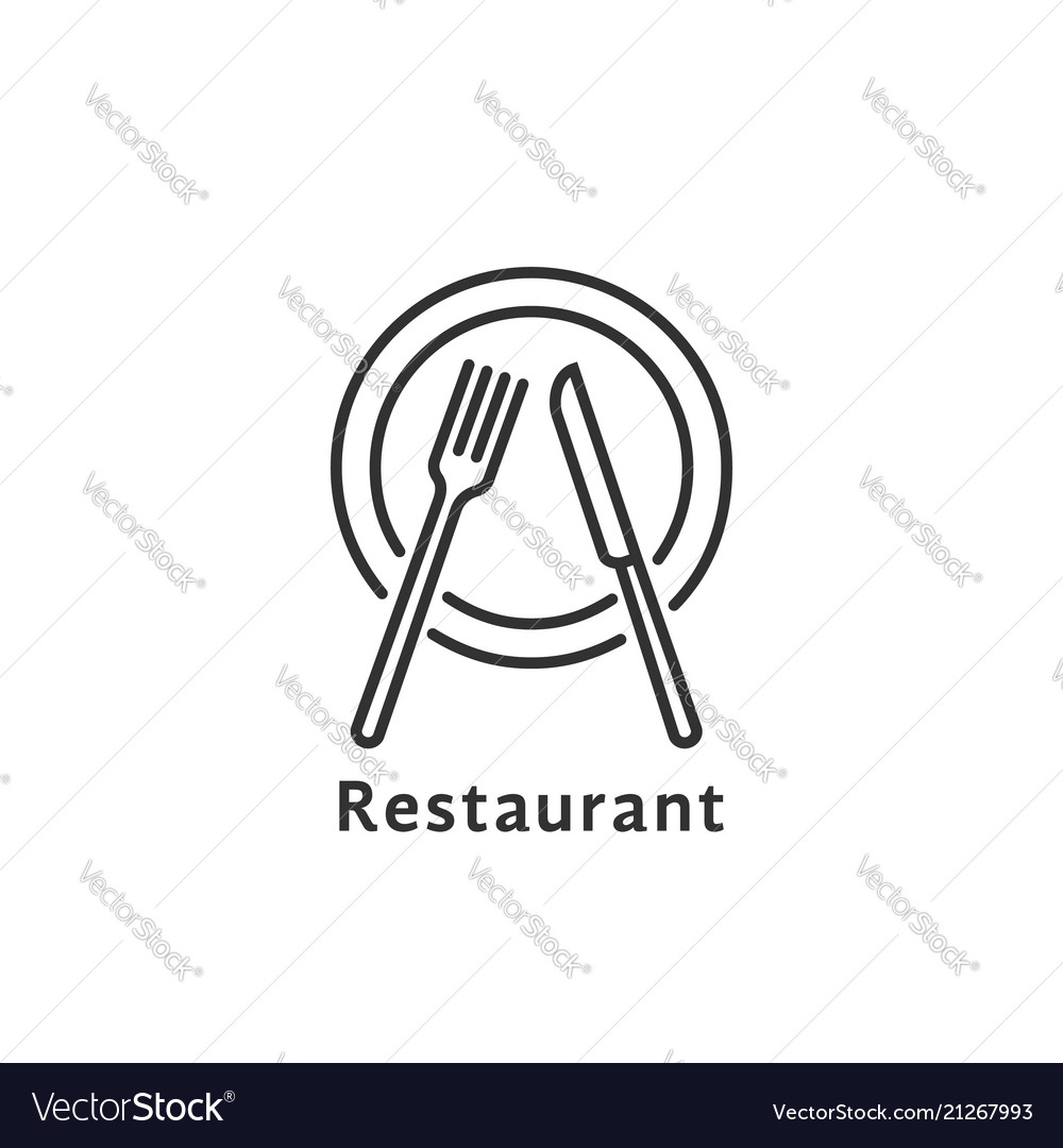Simple black thin line restaurant logo