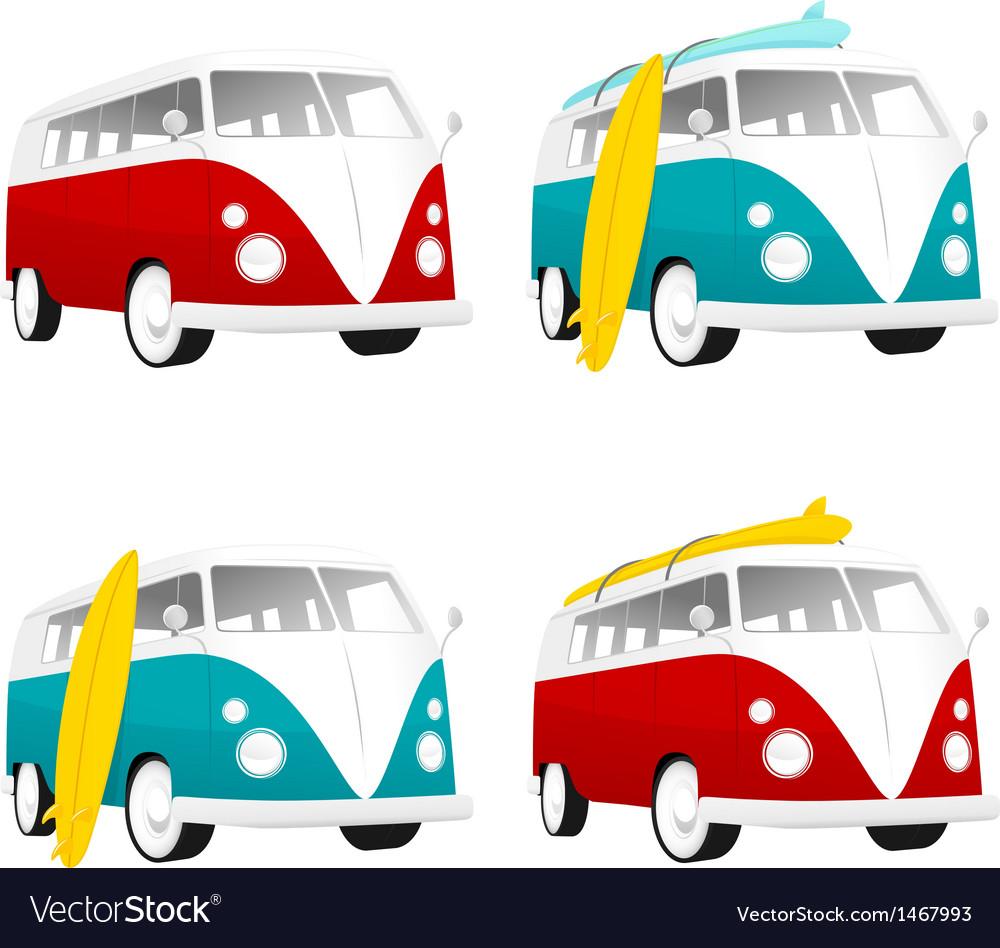 Vintage camper bus van with surfboards