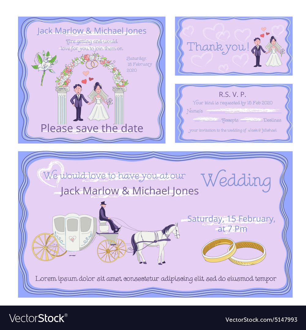 Wedding invitation thank you card save date