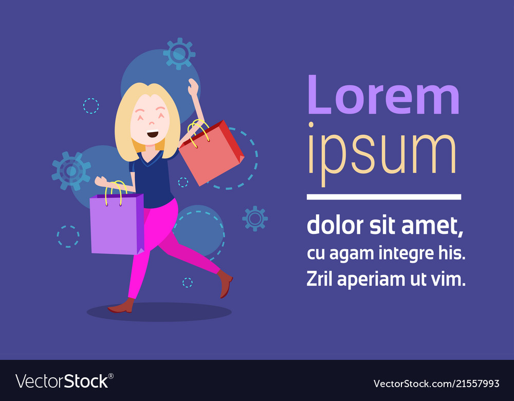 Woman character holding shopping purchases bag
