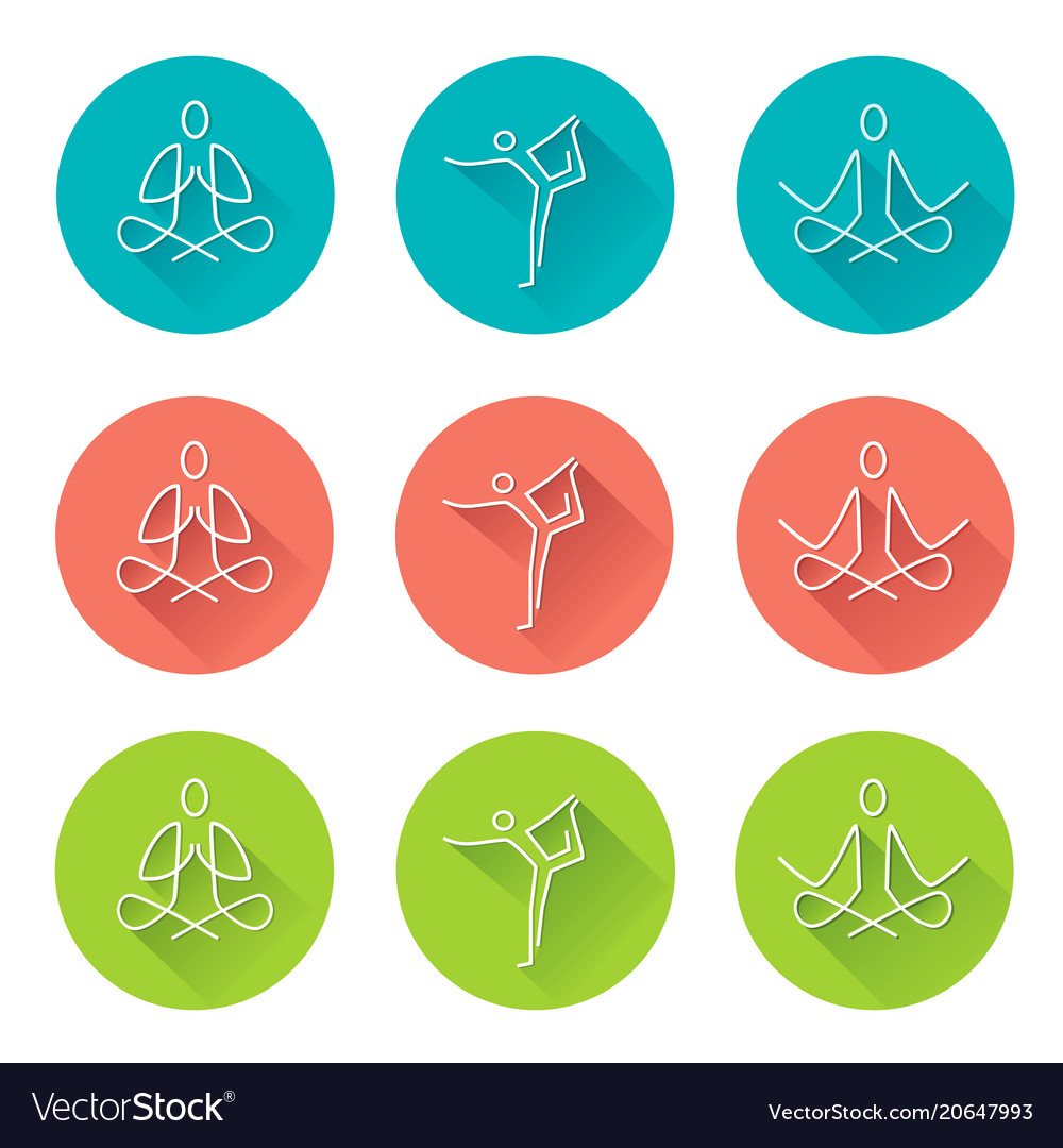 Yoga line art icons with long shadow