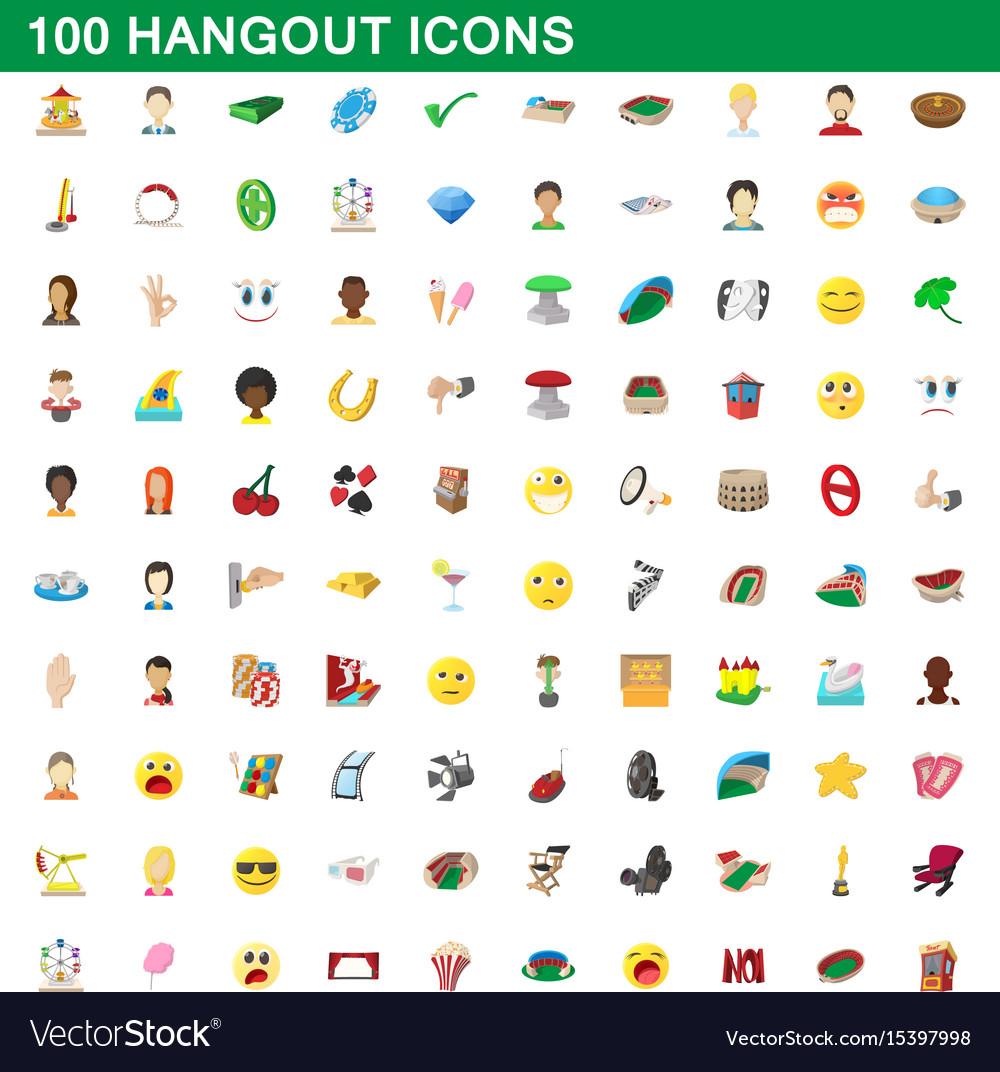 100 hangout icons set cartoon style