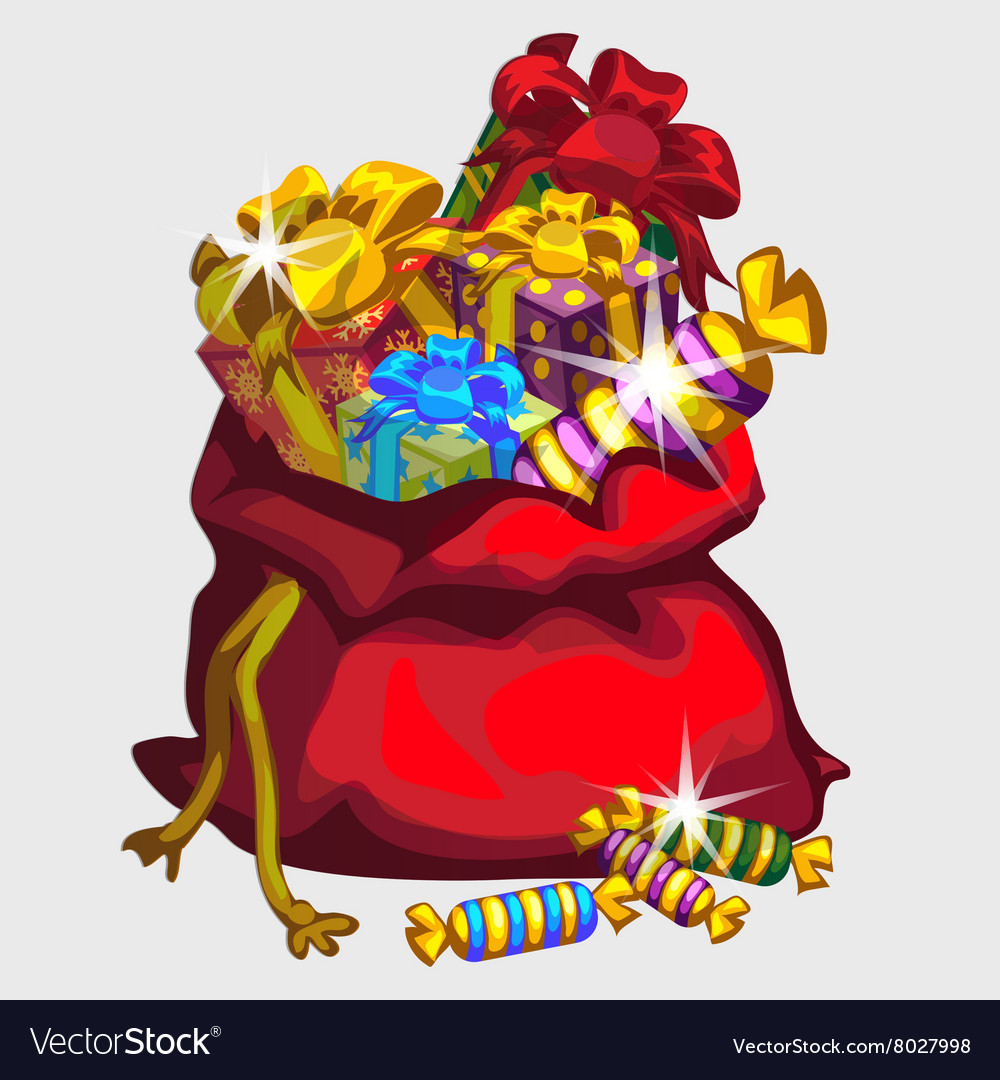 Big red bag of gifts and sweets festive icon