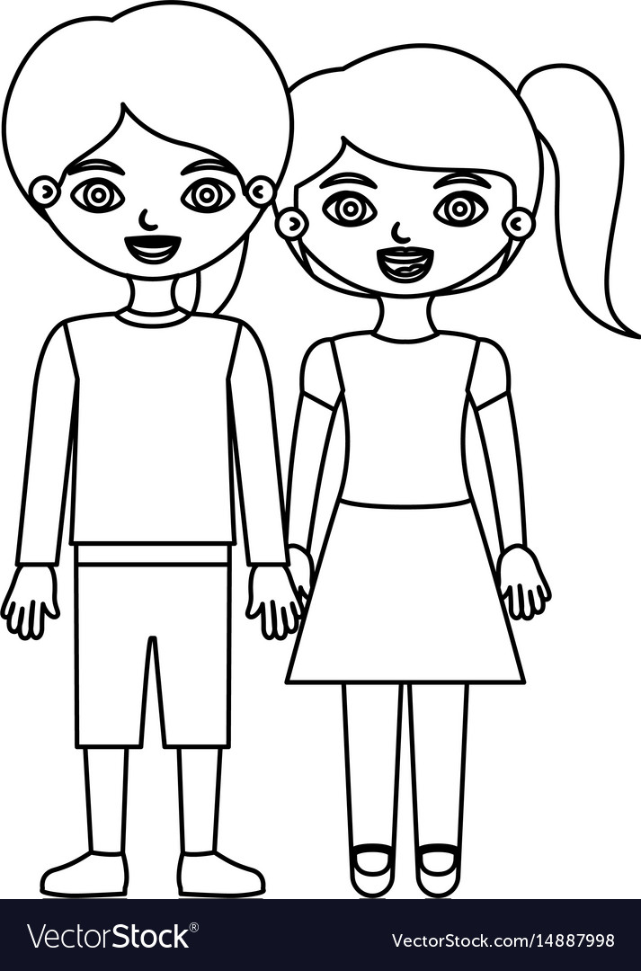 Black contour couple children with taken hands vector image