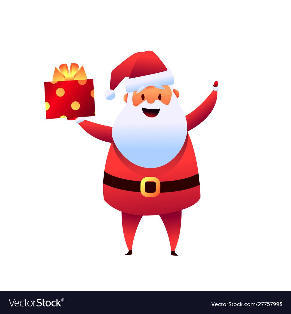 Cartoon santa claus with present box