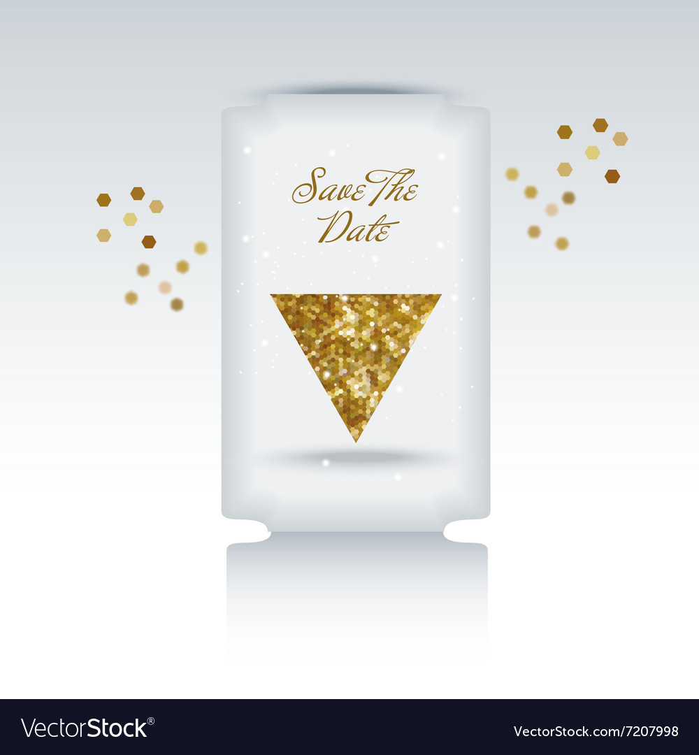 Cute card with gold confetti glitter