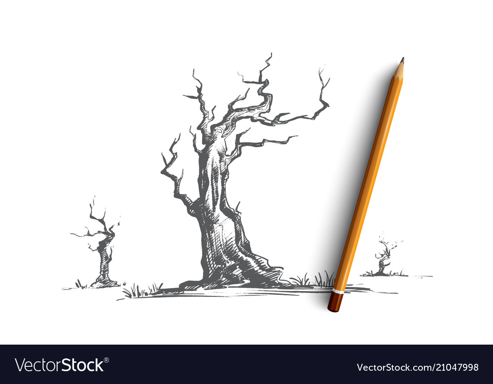Dead trees concept hand drawn isolated