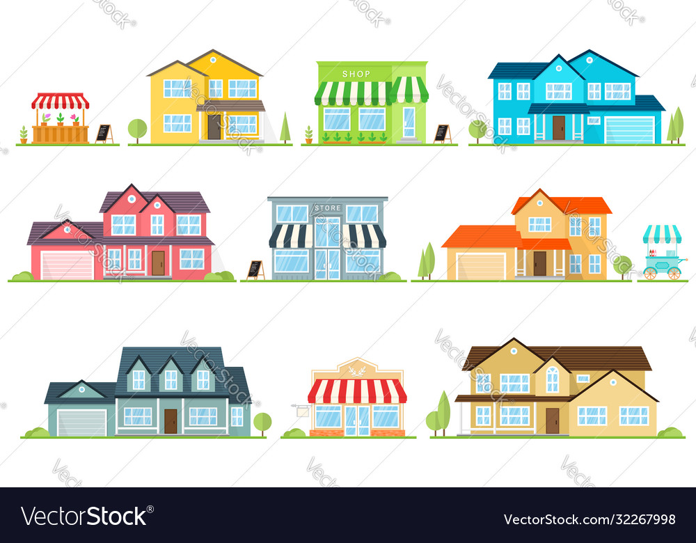 Flat icon suburban american house and