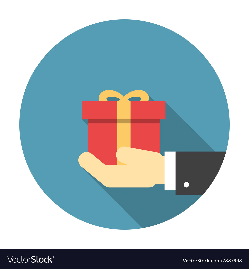 Gift box in hand flat icon Royalty Free Vector Image