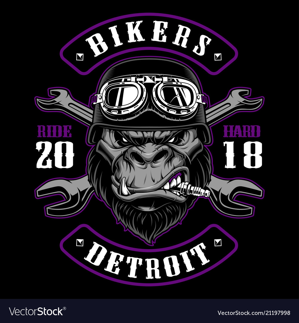 Gorilla biker with crossed wrenches