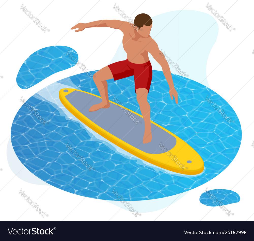 Isometric summer surfer surfer on blue ocean wave