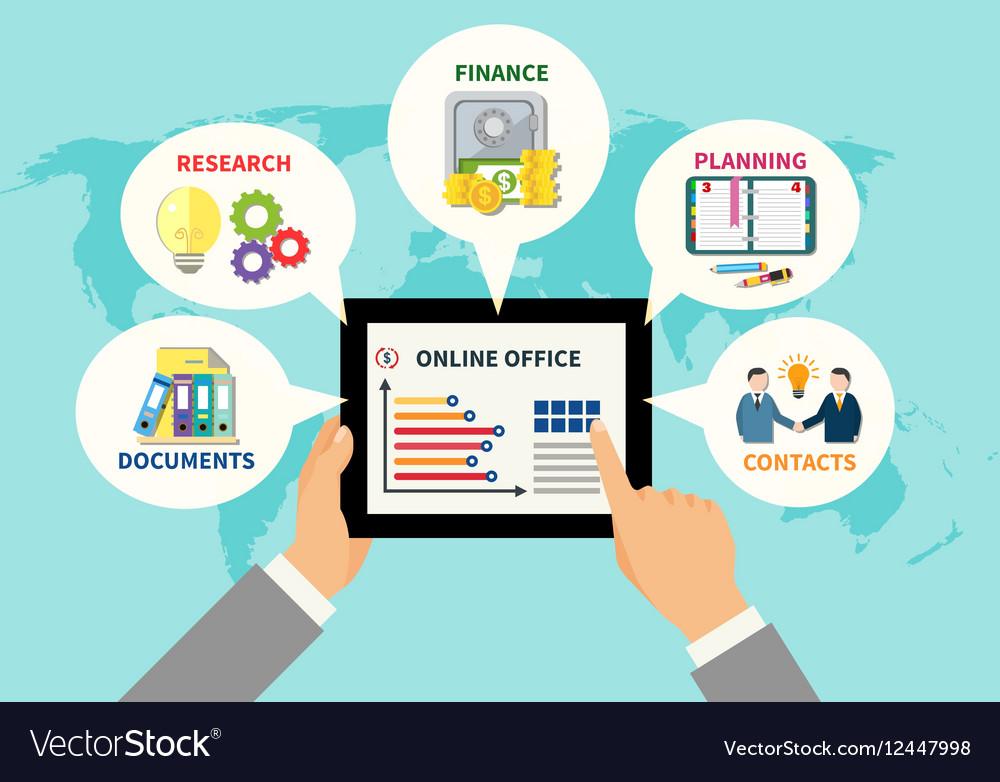 Online Office Design Concept vector image