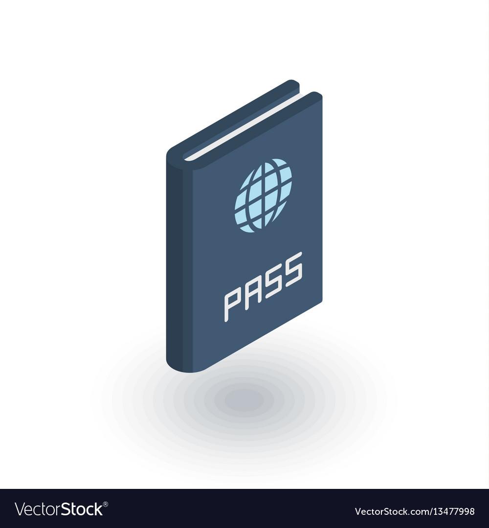 Passport id document isometric flat icon 3d