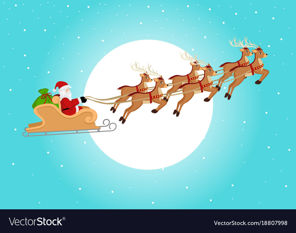 pictures of santa and his sleigh santa claus riding his sleigh royalty free vector image 9882