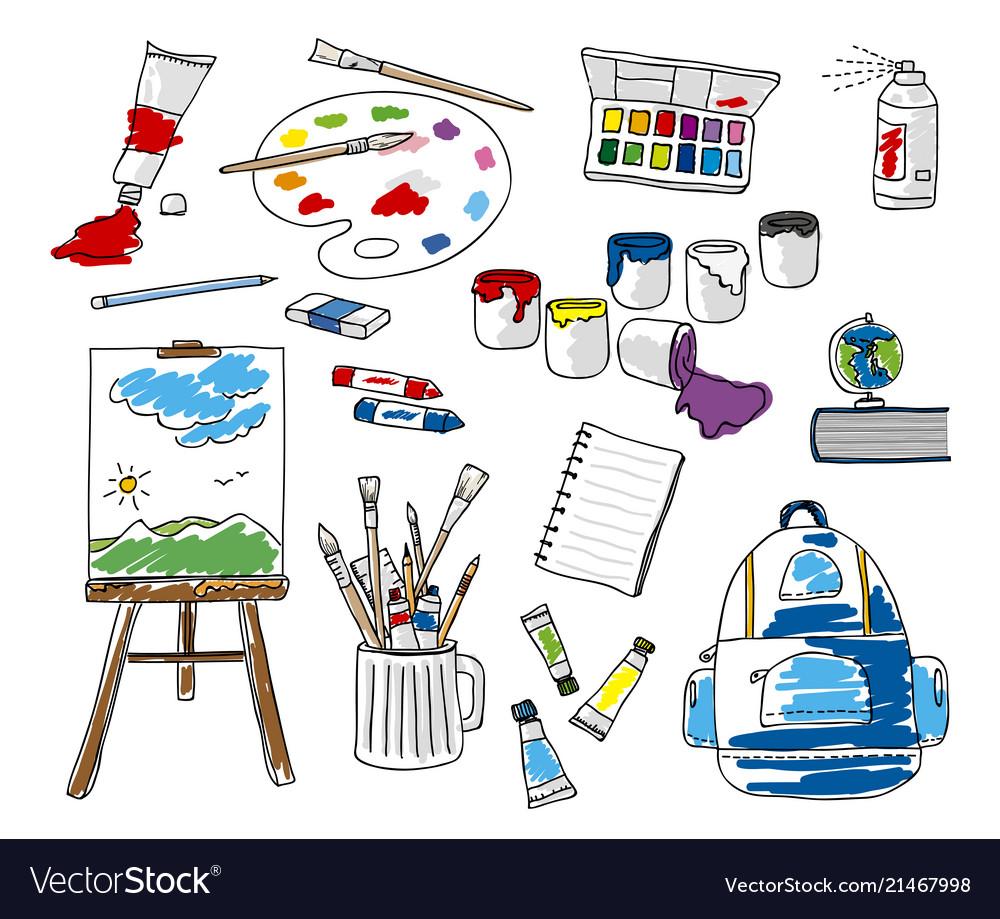 Set doodle school stationery on white background