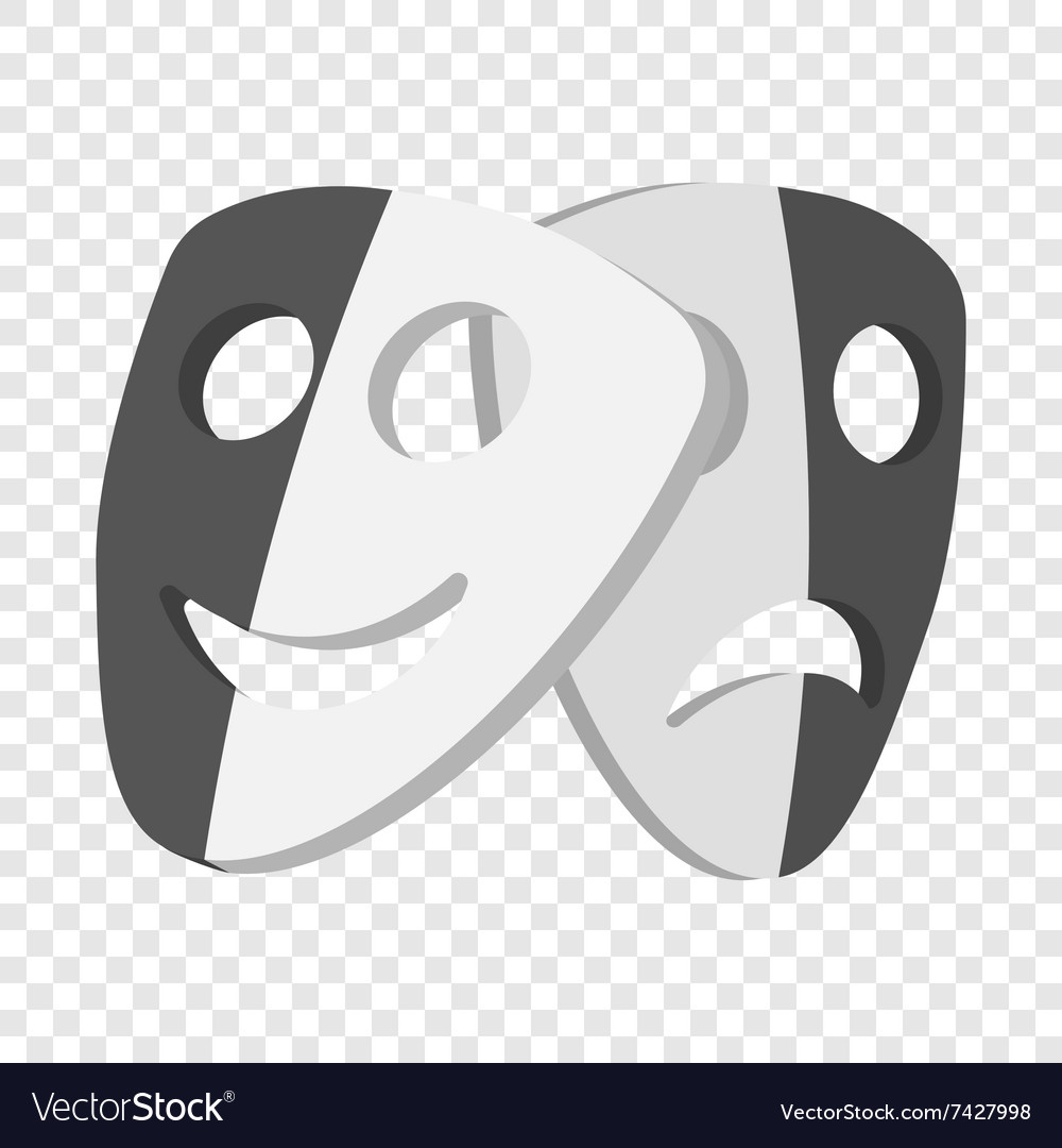 Theater masks cartoon icons vector image