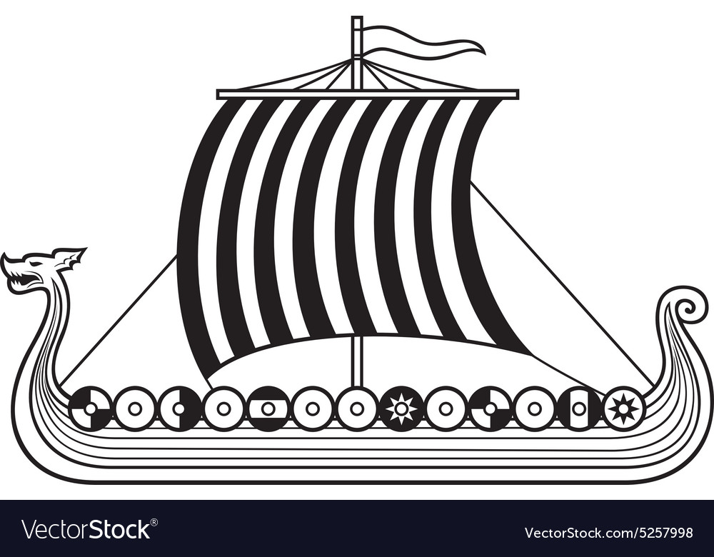 Viking ship Royalty Free Vector Image - VectorStock